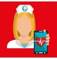 nurse smartphone care health vector image