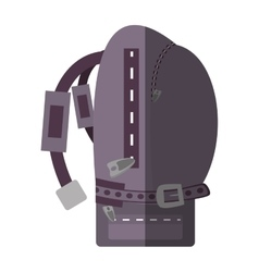 Purple backpack hike traveler side view shadow vector