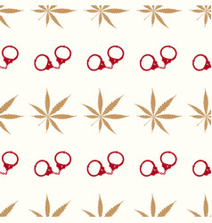 seamless pattern with cannabis leaves and handcuff vector image