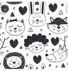seamless pattern with head animals vector image vector image