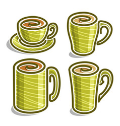 Set abstract icons tea cup vector