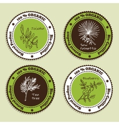 Set of natural organic product badges vector