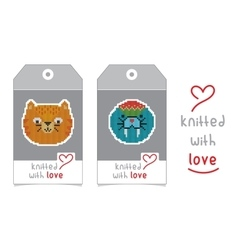 Set of two tags with knitted animals vector