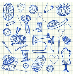 Sewing doodles vector image