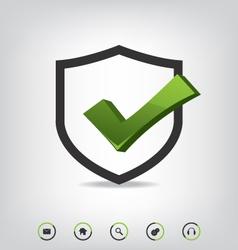 Shield check mark and web icons vector image vector image