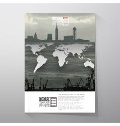 Shipyard and city landscape world map vector