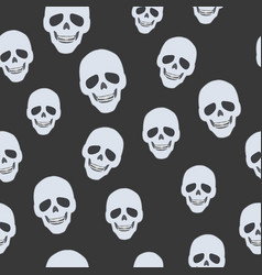 skulls on black seamless pattern endless texture vector image