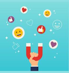 Social media marketing concept hand holding vector