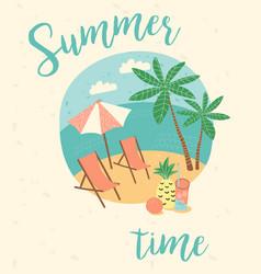 summer vacation flat cartoon retro vector image vector image