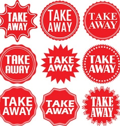 Take away red label Take away red sign Take away vector image vector image