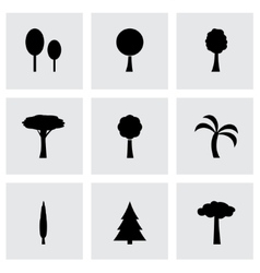 trees icon set vector image vector image