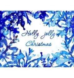 Watercolor snowflake card vector