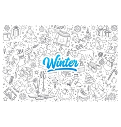 Winter doodle set with lettering vector image