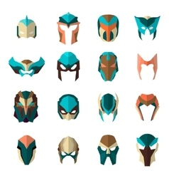Set of super hero masks in flat style big vector