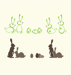 Silhouettes of easter bunnies vector
