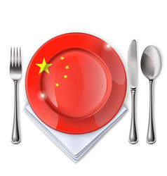 A plate with an chinese flag vector