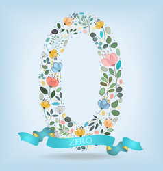 Floral number zero with blue ribbon vector