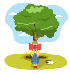 Girl reading book sitting under tree of wisdom vector