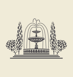 Icon vintage park fountain with steps and trees vector