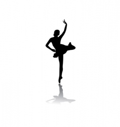 Silhouette of woman ballet dancer vector