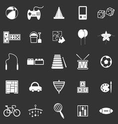 Toy icons on black background vector