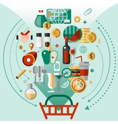 Food icons basket vector