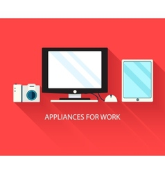 Flat modern home electronics appliances set icons vector