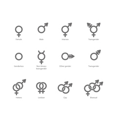 Gender symbol icons vector