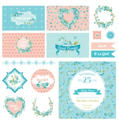 Baby scrapbook party set - flower theme vector