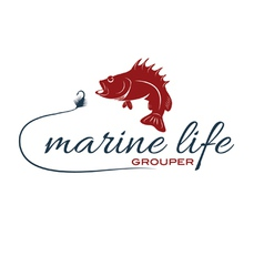 Marine life with grouper vector