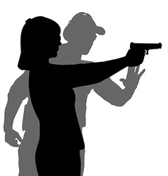 Instructor assisting woman aiming hand gun at vector image