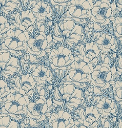 Seamless pattern with graphic spring flowers vector
