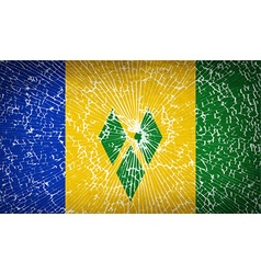 Flags saint vincent grenadines with broken glass vector