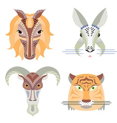 Geometrical flat design style animal port vector