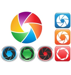Colorful camera shutter aperture symbol vector