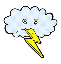 Comic cartoon lightning bolt and cloud vector