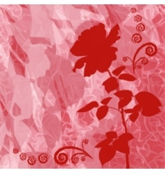 Background with flower rose silhouette vector