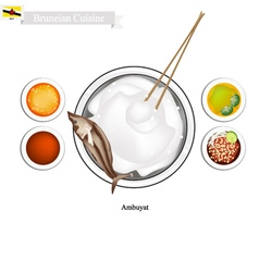 Ambuyat or Bruneian Steamed Sago Starch with Local vector image