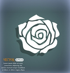 Rose icon on the blue-green abstract background vector