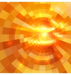 Abstract orange shining circle tunnel background vector image