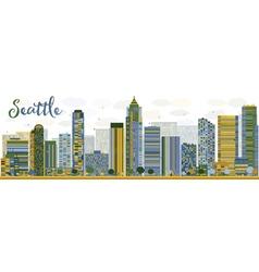 Abstract seattle city skyline vector