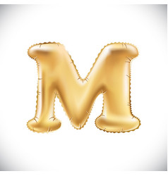 Balloon letter m realistic 3d isolated gold vector