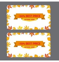 Card with discount of 50 70 percent Autumn flyer vector image vector image