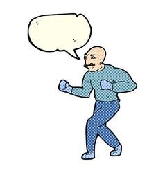 Cartoon victorian boxer with speech bubble vector