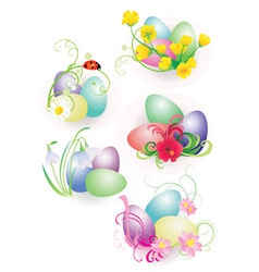 color easter eggs vector image vector image