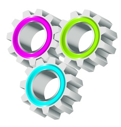 colorful cog wheels vector image vector image