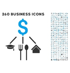 Consumption pattern icon with flat set vector