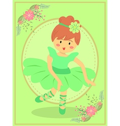 Cute green ballerina girl vector