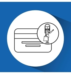 drawing girl shopping with credit card vector image