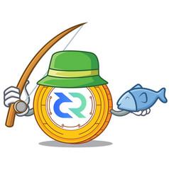 Fishing decred coin mascot cartoon vector